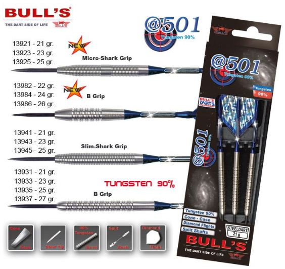 Bull´s Šipky Steel @501 Slim-Shark Grip 23gr. 13943