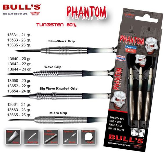 Bull´s Šipky Steel Phantom Slim-Shark Grip 21gr. 13631