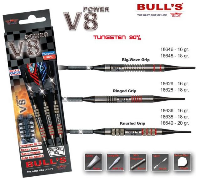 Bull´s Šipky V8 Power Knurled Grip 20gr. 18640